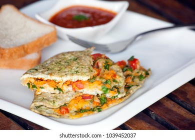 Spinach egg white cheese omelette is a healthy version of breakfast.
