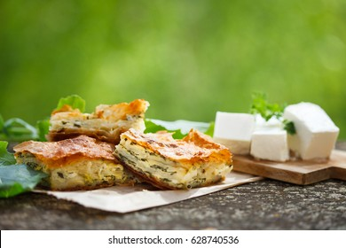 Spinach and feta pie in filo pastry, pita zeljanica, traditional Greek spanakopita.