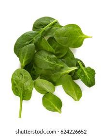 Spinat einzeln auf weißem Hintergrund