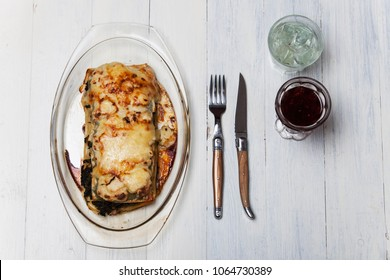 spinach lasagna on a glass plate