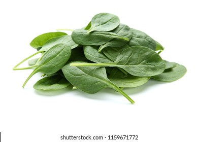 Spinach leafs isolated on white background