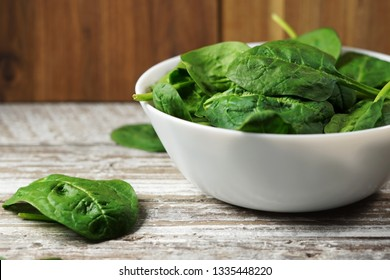 Spinach leaves close up in a bowl on a rustic wooden table.
