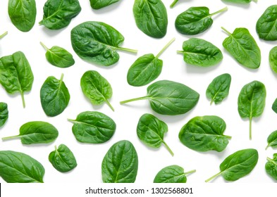 Spinach leaves. Fresh Green spinach isolated on a white background