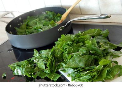 spinach on stove