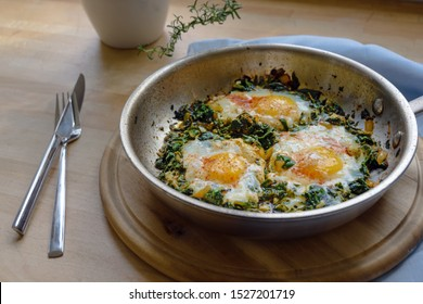 spinach pan with fried egg and spices, protein-rich vegetarian dish for low carb diet on a rustic wooden board, selected focus, narrow depth of field