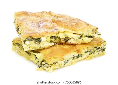 spinach pie or spanakopita with spinach and feta cheese, greek traditional dessert