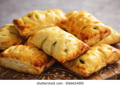 Spinach puff pastries with feta cheese.