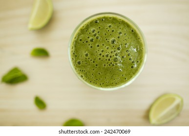 Spinach smoothie. Healthy fresh cocktail