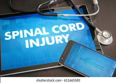 Spinal cord injury (neurological disorder) diagnosis medical concept on tablet screen with stethoscope.