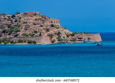 Spinalonga island (Kalidon), former leper colony and fortress at Plaka, Elounda bay of Crete island in Greece.