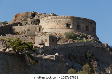 Spinalonga,Elounda/Greece - July 3rd 2016: view of the fortress of spinalonga island