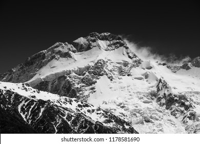 Spindrift on Mount Sefton, Aoraki/Mount Cook National Park, New Zealand