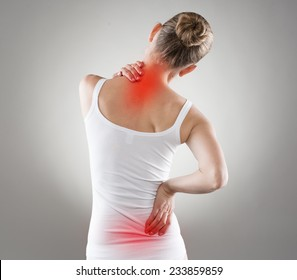 Spine osteoporosis. Scoliosis. Spinal cord problems on woman's back.