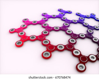 Spinners pattern  3d illustration