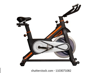 Spinning bike for exercise in gym or fitness isolated on white background with clipping path.