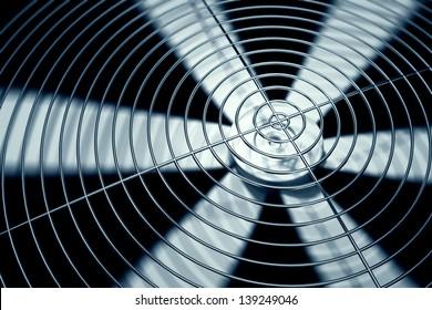 Spinning fan closeup.