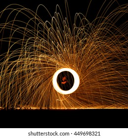 Spinning Fireworks - Side view