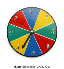 Spinning Game Wheel Isolated on White Background.
