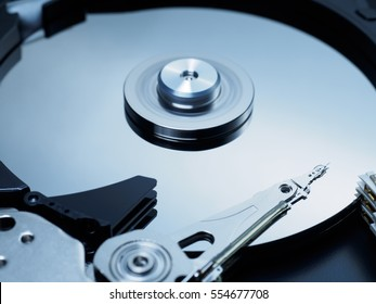 Spinning hard disk drive close up