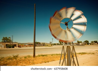 spinning vane at desert road route 66 in arizona