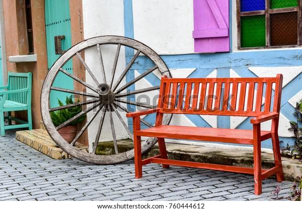 Phenomenal Spinning Wheel Yarn Baskets Old Chair Stock Photo Edit Now Machost Co Dining Chair Design Ideas Machostcouk