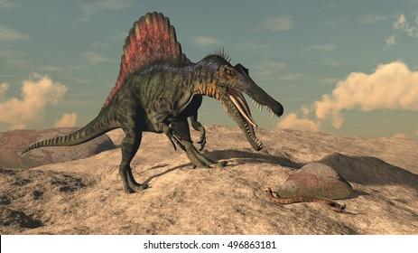 Spinosaurus dinosaur hunting a snake - 3D render