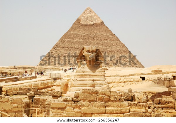 Spinx face on the Giza pyramid background, Cairo, Egypt