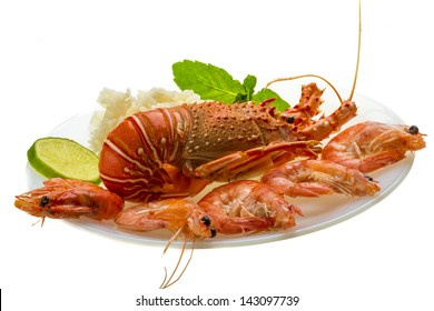 Spiny lobster, shrimps and rice