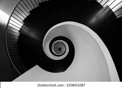 Spiral artistic stairs black white
