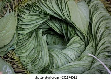 A spiral of betel leaves in Yangon, Myanmar