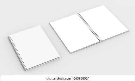 Spiral binder notebook mock up isolated on soft gray background. 3D illustrating
