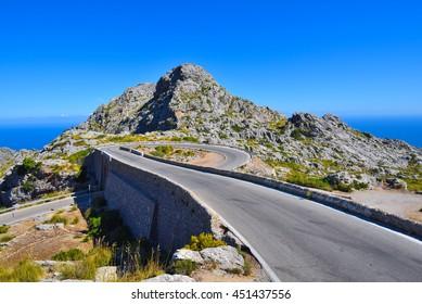 The Spiral bridge on the mountain road to Sa Calobra on Majorca in Spain