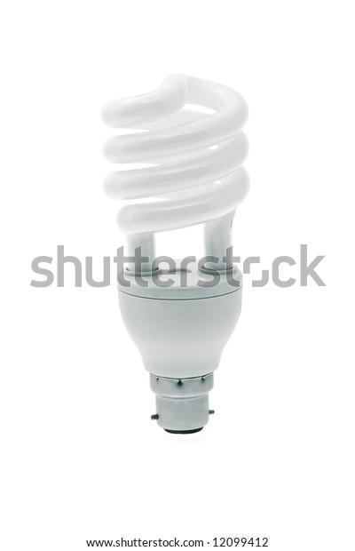 Spiral energy saving light bulb on white background