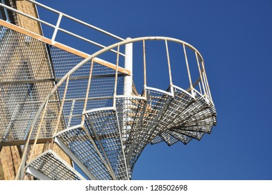 Spiral Fire Escape Staircase from Below
