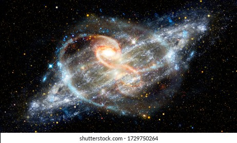 Spiral galaxies and nebula in deep space. Elements of this image furnished by NASA.