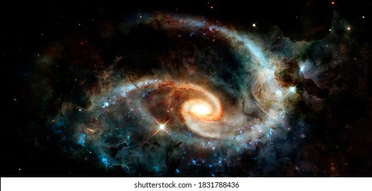 Spiral galaxy. Deep cosmos. Outer space. Elements of this image furnished by NASA.