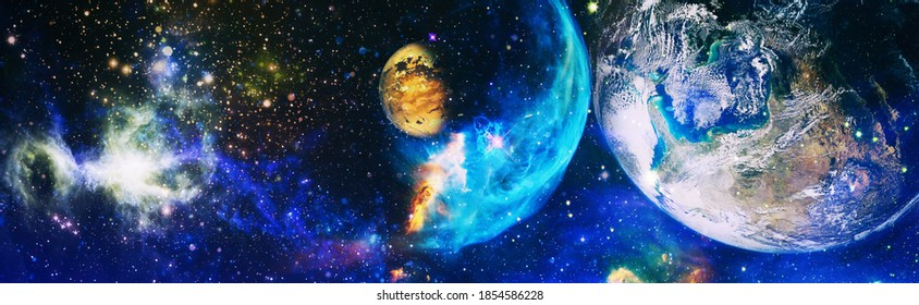 Spiral galaxy in deep space. Stars of a planet and galaxy in a free space. Colored nebula and open cluster of stars in the universe. Elements of this image furnished by NASA.