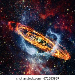 Spiral galaxy and starfield in the deep space. Elements of this image furnished by NASA.