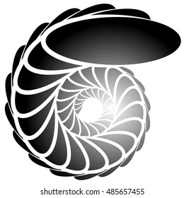 Spiral, helix, snail shape. Abstract monochrome element on white.