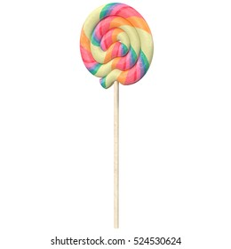Spiral lollipop on white background, 3d illustration