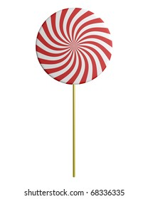 Spiral lollipop with yellow stick - isolated on white background
