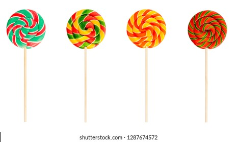 spiral lollipops isolated on white background. Set of colorful red, green and yellow sweet candys.