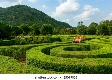 Spiral maze by the mountains at Khao Yai, Thailand. The stairs in the middle are for climbing to observe directions.