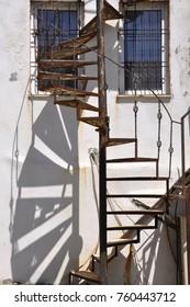 Spiral metal staircase