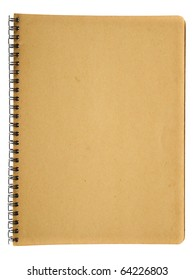 Spiral old brown notebook isolated on white