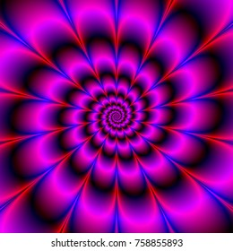 Spiral Petals in Blue and Pink / A digital fractal image with a spiral of petals design in blue, pink, violet and red.