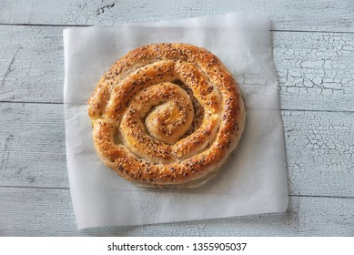 Spiral phyllo pie with feta flat lay
