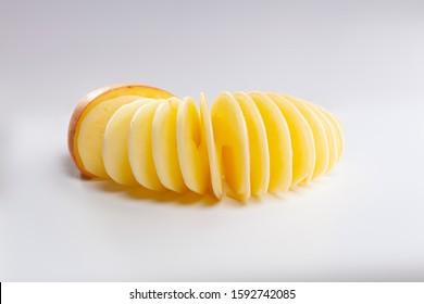 Spiral potato on white background