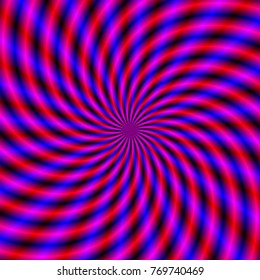 Spiral Rays in Blue Red and Violet / An optically challenging fractal image with a colorful spiral ray design in blue, violet and red.