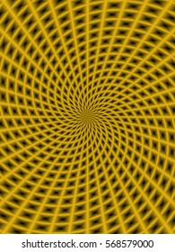 Spiral Rays in Gold / An abstract fractal image with a spiral ray design in gold.